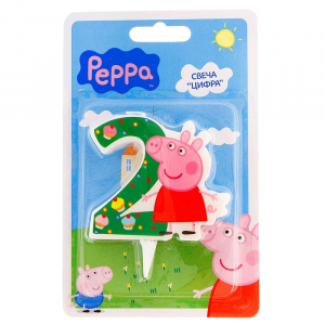 "Свеча для торта цифра ""Peppa Pig"" зелёная ""2"""