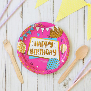 """Тарелка бумажная """"Happy Birthday"""" гирлянды, 18 см (10 штук)"""