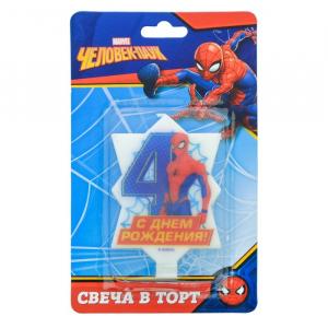 """Свеча в торт 4 """"С Днем Рождения"""", Человек-паук, 5.1 х 8 см"""