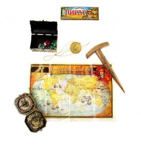 Набор пирата 5 предметов: компас, молоток, карта, медальон, сундук
