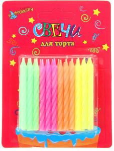 """Свечи восковые для торта """"Яркие цвета"""" (набор 24 шт)"""