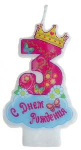 """Свеча в торт """"корона"""" цифра """"3"""""""