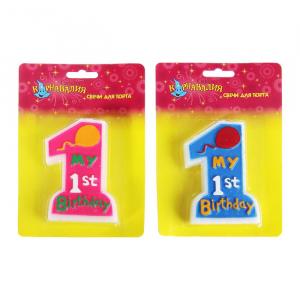 """Свечи воск д/торта цифра """"1"""" первый день рождения"""
