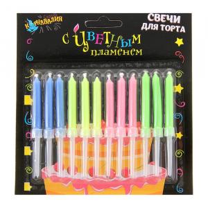 """Свечи восковые для торта """"Цветное пламя"""" (12 шт + 12 подставок)"""