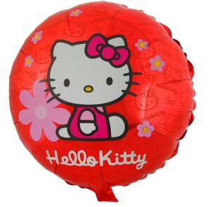 "Фольгированный шар ""Hello Kitty в цветочках"" Круг 18"""