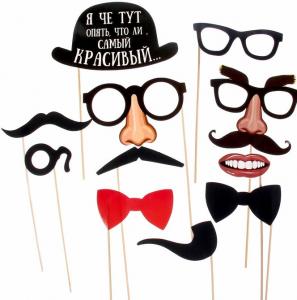 """Набор фотобутафории """"Джентльменский"""", 11 предметов"""