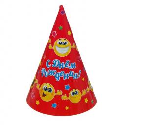 """Бумажные колпаки """"С днём рождения! Смешные смайлы"""", 16 см"""