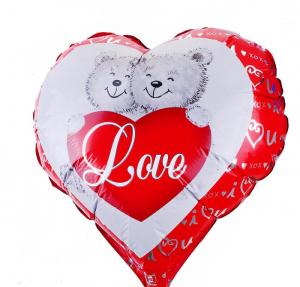 """Шар фольгированный """"Два медведя"""", в форме сердца"""