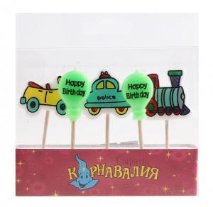 Свечи воск д/торта (набор 5 шт) шарики/машинки
