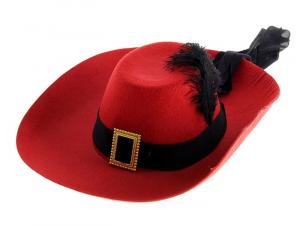Карнавальная шляпа красная с пером и лентой