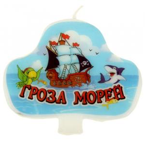 "Свеча в торт пиратская треуголка ""Гроза морей"""