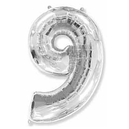 Фольгированный шар (40»/102 см) Цифра, 9, Серебро
