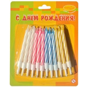 Свечи с держателями 24 шт, 6 см