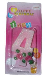 Свеча в торт цифра 4 розочки