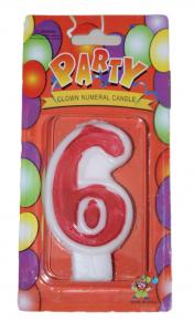 Свеча цифра 6 красная