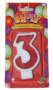 Свеча цифра 3 красная
