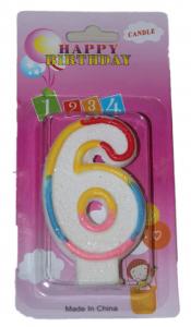 Свеча в торт цифра 6 блёстки