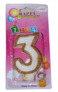 Свеча цифра 3 золотые блёстки