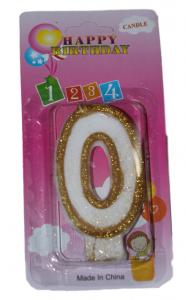 Свеча в торт цифра 0 золотые блёстки