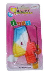 Свеча цифра 4 цветная