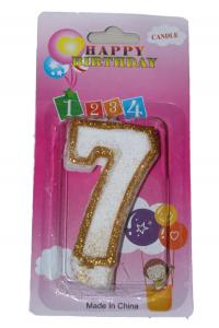 Свеча цифра 7 золотые блёстки