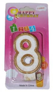 Свеча цифра 8 золотые блёстки