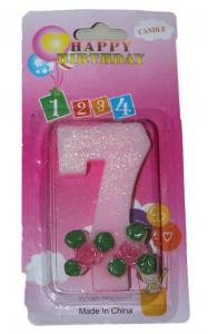 Свеча в торт цифра 7 розы