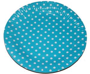 Тарелка БОЛЬШАЯ голубая в горох, 23 см