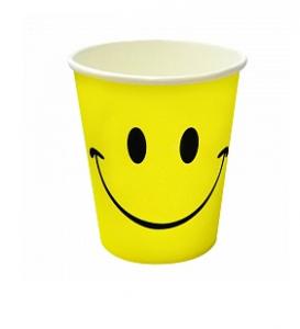 """Бумажные стаканчики """"Смайл"""" классика, желтый, 180мл, 6шт"""