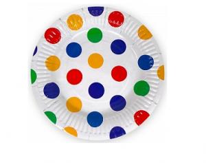"""Бумажные тарелки """"Разноцветные точки"""", 7 дюймов, 6шт"""