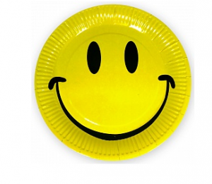 "Бумажные тарелки ""Смайл"" классика, Желтый, 9 дюймов, 6шт"