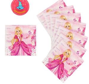 """Набор бумажных салфеток """"Принцесса и замок"""", 25 см х 25 см (20 шт.)"""