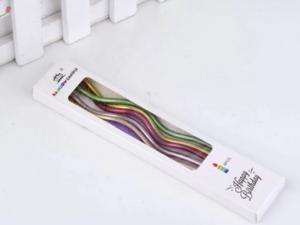 Свечи в торт витые Разноцветные металл, 6 шт. в упаковке