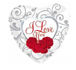 """Фольгированный шар Сердце, Я люблю тебя (три розы на белом) (18""""/46 см)"""