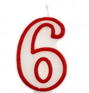 Свеча цифра 6 (красный ободок)